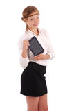 Girl keeps tablet pc standing sideways Royalty Free Stock Images