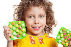 The girl keeps vitamins Royalty Free Stock Photos