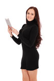 Girl keeps white tablet pc standing sideways Royalty Free Stock Photos