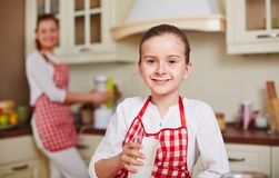 Girl with kefir Stock Images