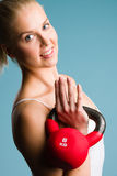 Girl and kettlebell Royalty Free Stock Photo