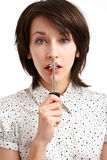 Girl with the key Royalty Free Stock Image