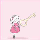 Girl with key. Vector illustration of girl with giant key Royalty Free Stock Photo