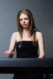 Girl with keyboard Royalty Free Stock Photos