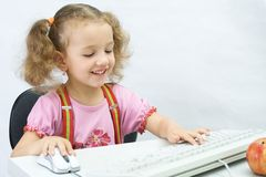 The girl with a keyboard Royalty Free Stock Photography