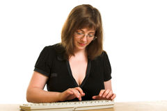 Girl with keyboard Stock Images