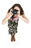Girl in khaki pants photographed Stock Image