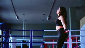Slow motion, close-up charming cute slim brunette woman athlete jumps on rope training in gym for boxing. Slow motion, low-angle shot close-up charming cute slim stock video