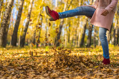 Girl kicked dry leaves. Autumn sunny day in the park. Yellow leaves underfoot Royalty Free Stock Photo