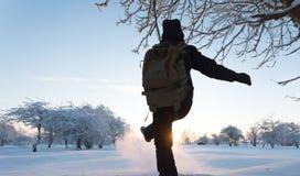 Girl kicking snow. Winter landscape. Sunset. Stock Images