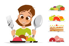 Girl kid child holding spoon and fork eating meal dish Stock Images
