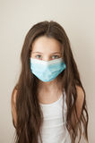Girl kid epidemic flu medicine child  medical mask Stock Images