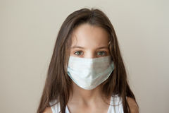 Girl kid epidemic flu medicine child medical mask royalty free stock images