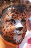 Girl kid face with panther mask 8. Cute girl kid face with painted panther color mask Stock Image