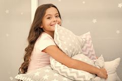 Girl kid hug cute pillow. Cute kids pillows they will love to cuddle. Find decorative pillows and add fun to room. Happy. Childhood cozy home. Adorable cushions stock images