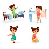 Girl kid morning illustration of cartoon child daily routine activity waking up, washing and physical exercises stock illustration