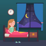 Girl kid preparing to sleep bedtime in bed. Girl kid preparing to sleep bedtime in her bedroom bed. Good night time. Modern flat style vector illustration Stock Images