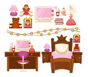 Girl kid room interior furniture and appliances vector flat icons set Royalty Free Stock Image