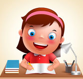 Girl kid vector character happy studying in desk doing school homework. While holding pencil and books. Vector illustration Royalty Free Stock Photos