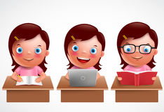 Girl kid vector characters set. Female preschool student studying, reading and browsing Royalty Free Stock Photo