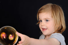 Girl, kids, blow bubble, catch Royalty Free Stock Image
