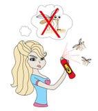 Girl kill mosquito. Vector Illustration Stock Photography