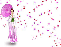 Girl in Kimono. A girl in kimono with an umbrella nd flowers Royalty Free Stock Photography