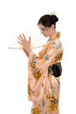 The girl in a kimono Stock Images