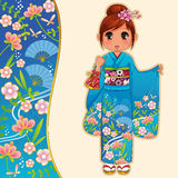 Girl in kimono. Manga girl in kimono standing next to a patterned banner Royalty Free Stock Photo