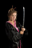 Girl in a kimono with a katana Royalty Free Stock Images