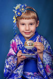 Girl in a kimono Royalty Free Stock Photos