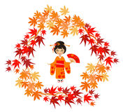 The girl in a kimono and maple leaves Stock Images