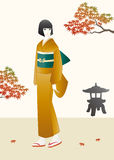 Girl in kimono and maple trees Stock Photo