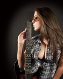 Girl kiss guitar Royalty Free Stock Photos