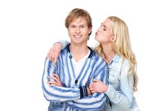 Girl Kisses Boy Royalty Free Stock Images