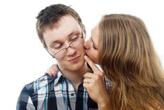 Girl kisses for a Man Royalty Free Stock Images