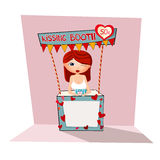 Girl in kissing booth Royalty Free Stock Photo