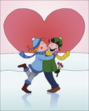 Girl kissing a boy. A girl kisses a boy on the cheek when he gives her flowers. Winter setting with snow and a huge heart in the background Royalty Free Stock Image