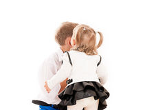 Girl kissing a boy Stock Photo