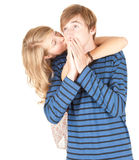 Girl kissing her boyfriend Royalty Free Stock Photography