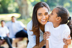 Girl kissing mother Royalty Free Stock Image
