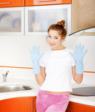 Girl at the kitchen Stock Photography