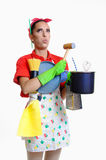 Girl and kitchen concept. Beautiful young girl in the kitchen cleaning and cooking concept, isolated on white stock photos