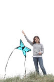 Girl with a kite Royalty Free Stock Photos