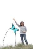 Girl with a kite royalty free stock photos