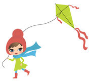Girl with a kite. Little cute girl playing with a kite Royalty Free Stock Images