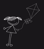 Girl with kite Stock Photo