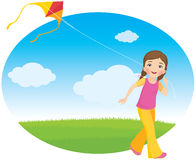 Girl with a kite Royalty Free Stock Image