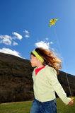 Girl and kite royalty free stock photos