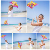 Girl with kite Stock Images